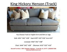 King Hickory Henson Sofa with Track Arms and Turned Legs. You Choose the Fabric or Leather