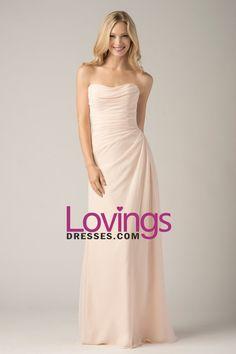 2015 Strapless Column Chiffon Floor-Length Bridesmaid Dresses With Ruffles US$ 99.99 LDPS6HRTRC - lovingsdresses.com for mobile