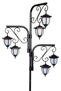 Diy solar lights for outdoor yard parties with antique floor lamp solar lights on hanging flower postlove this idea solutioingenieria Gallery