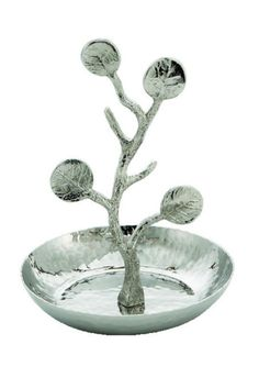 "The Michael Aram Botanical Leaf Collection takes its inspiration from the intricacies of form and texture found in particular types of foliage. Reminiscent of eucalyptus and seagrape, the structure celebrates the twisting branches as much as it does the leaves themselves. The stainless steel ring catch has solid leaf accents and is a lovely jewelry holder. Dimensions: 4.5"" Height x 4"" Diameter.   Botanical Ring Catch by Michael Aram. Home & Gifts - Gifts For... Seattle , Washington"