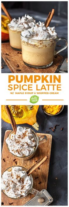 Make your own  pumpkin spice latte with homemade whipped cream and maple syrup. It's the perfect fall treat from Halloween to Thanksgiving | More seasonal dessert and coffee recipes on blog.hellofresh.com
