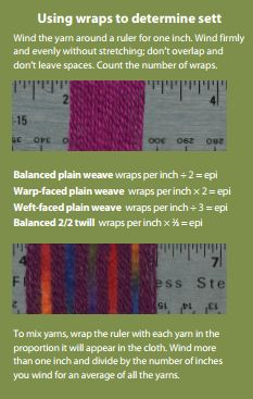 "Here's how to calculate wraps per inch and determine your #weaving sett. Click for Handwoven's ""Weaver's Guide to Yarn,"" an awesome free resource. #weavingtips"