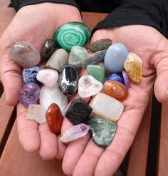 "I've been enjoying and collecting crystals and gemstones for almost 20 years. (a lot longer than that if you count my childhood fascination with rocks and minerals) Over these years I have come to know and accept that crystals and gemstones hold ""energy. Chakra Crystals, Chakra Stones, Crystals And Gemstones, Stones And Crystals, Gem Stones, Wicca, Reiki Angelico, Lucky Stone, Crystal Decor"