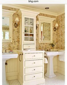 FRENCH COUNTRY COTTAGE: {Inspiration} Cottage Bathroom dreaming - love this unit between the sinks, but do not like pedestal sinks - need a solid counter top! Cottage Style Bathrooms, Chic Bathrooms, Dream Bathrooms, Beautiful Bathrooms, Rustic Bathrooms, Bad Inspiration, Bathroom Inspiration, Bathroom Renos, Small Bathroom