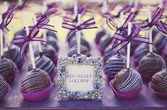 Purple wedding cap cakes