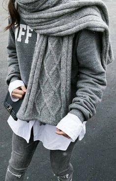 #winter #fashion /  Grey Printed Sweater / Grey Scarf / White Shirt / Skinny Denim
