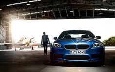 Blue Bimmer in its launch hanger