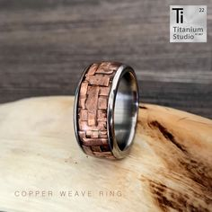 Titanium base ring with rustic copper inlay and protective resin coating. Rustic Jewelry, Gold Jewelry, Resin Coating, Copper Rings, Titanium Rings, Jewelry Collection, Wedding Bands, Steampunk, Rings For Men