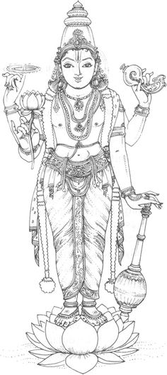 Hindu Mythology (Gods and Goddesses) – Printable coloring pages Mysore Painting, Kerala Mural Painting, Tanjore Painting, Krishna Painting, Indian Art Paintings, Krishna Art, Outline Art, Outline Drawings, Lord Vishnu Wallpapers