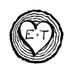 CUSTOM TREE HEART Rubber Stamp  custom initials by DoodleStamp, £10.00