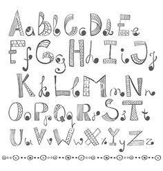 Hand drawn alphabet vector by Elmiko on VectorStock® Hand Lettering Alphabet, Doodle Lettering, Creative Lettering, Lettering Styles, Doodle Alphabet, Graffiti Alphabet, Alphabet Coloring, Calligraphy Letters, Islamic Calligraphy