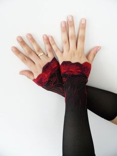 Black lace gloves viktorian gloves Long gloves Goth by WEDDINGHome, $24.00