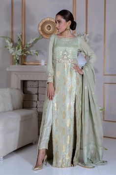 Kindly read detail description on our website. You can also purchase this outfit Pakistani Fashion Party Wear, Pakistani Dress Design, Pakistani Designers, Pakistani Bridal, Pakistani Outfits, Indian Outfits, Indian Fashion, Pakistani Long Dresses, Pakistani Clothing