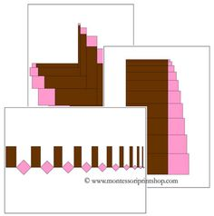 Pink Tower and Broad/Brown Stair Pattern Cards Set 1 - Printable Montessori Sensorial Materials for Montessori Learning at home and school. Maria Montessori, Montessori Science, Montessori Elementary, Montessori Preschool, Preschool Jobs, Senses Preschool, Kindergarten, Tot School, Card Patterns