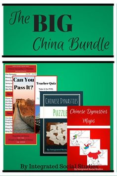 The Big Chinese Bundle includes four amazing products! Chinese Dynasties Maps, Chinese Dynasties Puzzles, the Can You Pass It? teacher test, and as a bonus, a Chinese Dynasties Timeline. Use this bundle in world history classes.