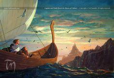 """Legolas and Gimli Reach the Shores of Valinor"" by Ted Nasmith, gouache on illustration board"