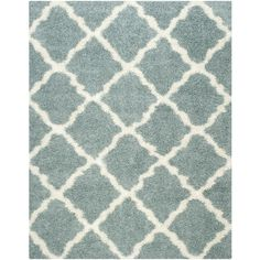Safavieh Dallas Shag Seafoam/Ivory Rectangular Indoor Machine-Made Moroccan Area Rug (Common: 8 x 10; Actual: 8-ft W x 10-ft L)
