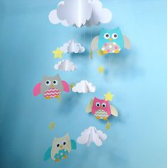 Baby Mobile/Owls and Clouds Hanging Mobile/Nursery by goshandgolly, $45.00