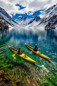 James Heim and Michelle Parker using Kayaks to access skiing ~ on Laguna de…