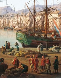 "Unloading Goods from a merchant ship, detail from ""Port of Marseille"" , 1756, by Claude-Joseph Vernet (1714-1789)"