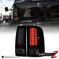 [SINISTER BLACK] GMC Sierra 2007-2013 Black Housing LED Tail Light Lamp Smoke #VIPMOTOZ