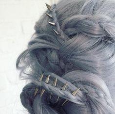 Hair Accessories regal rose phoenix hair spikes More - Wedding Hairstyles For Long Hair, Pretty Hairstyles, Protective Hairstyles, Hairstyles Haircuts, Latest Hairstyles, Pelo Multicolor, Phoenix Hair, Edgy Hair, Hair Dos