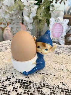 Cute Blue Pixie Porcelain Collectors Egg Cup - Vintage Mid Century Collectable The Collector, Pixie, Porcelain, Mid Century, Eggs, This Or That Questions, Cute, Vintage, Porcelain Ceramics