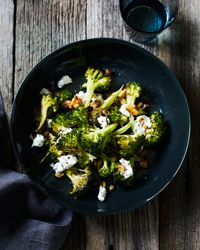 Roasted Broccoli with Walnuts and Goat Cheese | Goat cheese adds lovely creaminess to this vegetable side dish.