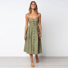 Cotton Button Striped High Waist Dress is part of Boho midi dress - Size Bust Waist Length S 32 26 39 M 33 28 39 L 35 29 40 Boho Midi Dress, Dress Up, Midi Dresses, Button Down Dress, Dress Long, Casual Midi Dress, Simple Dress Casual, Sundress Outfit, Simple Shoes