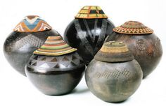 African Beer Pots Water and Grain Storage Containers with woven lids