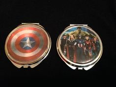 Marvel Comics compact mirror (your choice of one) $15 Captain America Avengers (Hulk, Hawkeye, Thor, Captain America, Iron Man, and Black Widow) https://www.etsy.com/listing/216397463/comic-characters-compact-mirror-your?