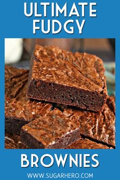 Meet your new favorite brownie recipe! These Ultimate Fudgy Chocolate Brownies are moist, ultra-chocolatey, and have the perfect crackly crust on top. You'll never want to use a boxed mix again! Cookie Dough Cake, Chocolate Chip Cookie Dough, Chocolate Brownies, Chocolate Desserts, Moist Brownies, Chocolate Vodka, Brownie Recipes, Cake Recipes, Dessert Recipes