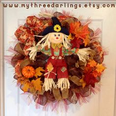 Fall Autumn Scarecrow Wreath, I like when something gives you an idea and I like the fall colored tulle Holiday Decorations, Holiday Crafts, Holiday Ideas, Straw Wreath, Tulle Wreath, Fall Wreaths, Door Wreaths, Scarecrow Wreath, Diy Ideas