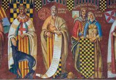 Detall del Mural dels comtes d'Urgell, amb Jaume II al centre . Ajuntament de Balaguer (Lleida)