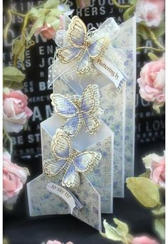 Note that this card has a steeper angle than standard cascading cards - djc Tri Fold Cards, Fancy Fold Cards, Folded Cards, Wedding Cards Handmade, Handmade Birthday Cards, Cascading Card, Tattered Lace Cards, Interactive Cards, Shaped Cards