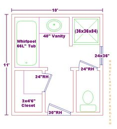 Bathroom Design Layout 8 x 12 foot master bathroom floor plans walk in shower - possible
