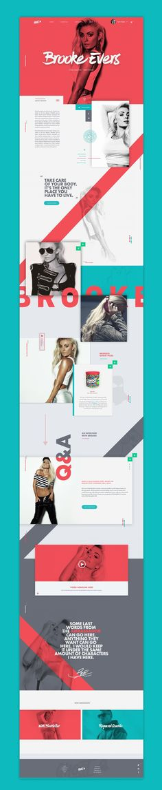 Great modern and feminine website design for Brooke Shields. I love the red and teal color scheme.