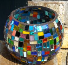 Mixed Glass Mosaic Candle Holder by FROGGIRLMOSAICS on Etsy, $30.00