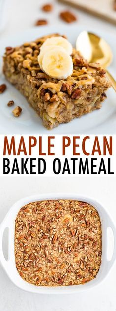 This maple pecan baked oatmeal is studded with chopped pecans and lightly sweetened with pure maple syrup. Fancy enough to serve for brunch, but perfect for meal prep as well. #bakedoatmeal #maple #pecan #mealprep #breakfast #oatmeal #eatingbirdfood