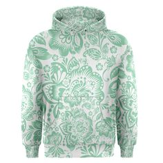 Mint+green+And+White+Baroque+Floral+Pattern+Men's+Pullover+Hoodies Mint Green, Baroque, Men's Fashion, Pullover, Hoodies, Floral, Summer, Pattern, Sweaters
