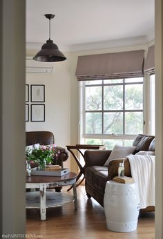 Cottage Country Living Room with Brown Leather Sofas   The Painted Hive