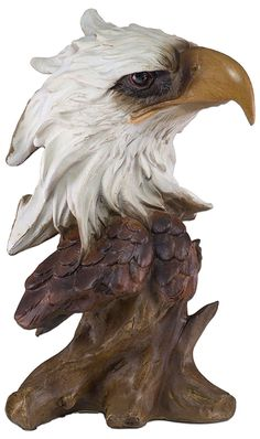 """Amazon.com: Custom & Unique {10.5"""" x 5.5"""" Inch} 1 Single, Large Home & Garden """"Standing"""" Figurine Decoration Made of Grade A Resin w/ Bald Eagle Head Bust w/ Carved Wood Look Style {Brown, White, & Yellow: Home & Kitchen"""