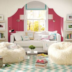 Love the rug! Cute and comfy space for girls to grow inspired! Perfect for a preppy girl.