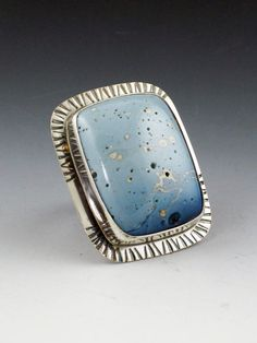 Leland Blue Ring size 8 ring large ring by MicheleGradyDesigns
