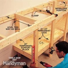 workbench for a small space. a fold-out work table, a roll out table saw stand, a miter box table and lots of storage