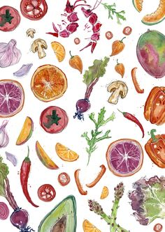 Delicious food illustration delicate watercolour Fresh, bright, and pretty. Created by Robyn Ward