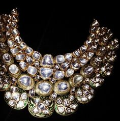 Polki necklace of uncut diamonds.