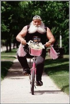 I share the same identity crisis--bicycling or motorcycling? And who says pink doesn't look great on guys?
