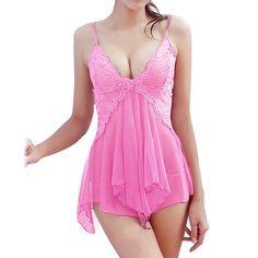 2017 Nuevo de Las Mujeres Ropa Interior de Encaje Sexy Camisón de Noche Vestido de Ropa de Dormir y ropa de Dormir Escarpada Babydoll chemise camisón de nuit Z1