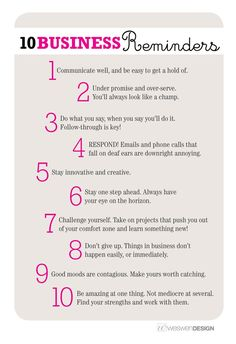10 Business Reminders, by Weswen Design - Tips and are my favorite. Small business success tips Inbound Marketing, Digital Marketing Strategy, Marketing Ideas, Network Marketing Tips, Sales Strategy, Marketing Software, Content Marketing, Affiliate Marketing, Internet Marketing